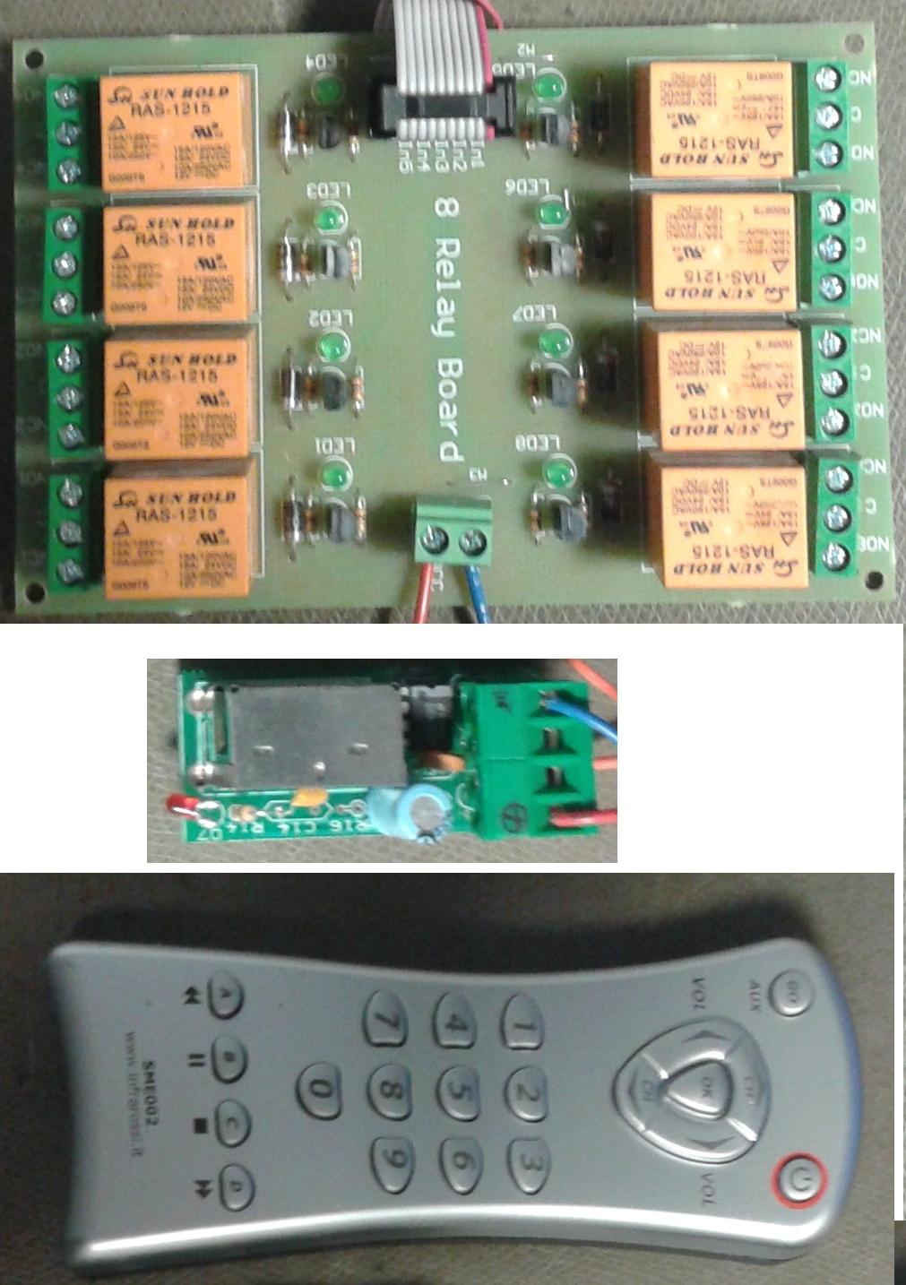 board 8 relais con telecomando